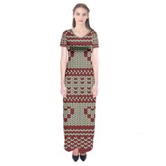 Stitched Seamless Pattern With Silhouette Of Heart Short Sleeve Maxi Dress