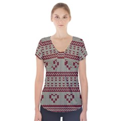 Stitched Seamless Pattern With Silhouette Of Heart Short Sleeve Front Detail Top