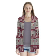 Stitched Seamless Pattern With Silhouette Of Heart Cardigans