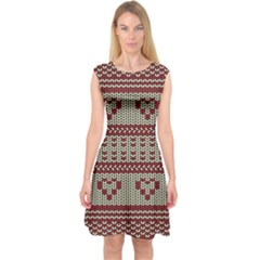 Stitched Seamless Pattern With Silhouette Of Heart Capsleeve Midi Dress