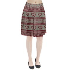 Stitched Seamless Pattern With Silhouette Of Heart Pleated Skirt