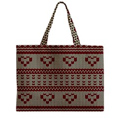 Stitched Seamless Pattern With Silhouette Of Heart Medium Tote Bag