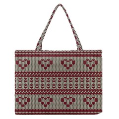 Stitched Seamless Pattern With Silhouette Of Heart Medium Zipper Tote Bag