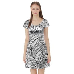 Zentangle Art Patterns Short Sleeve Skater Dress
