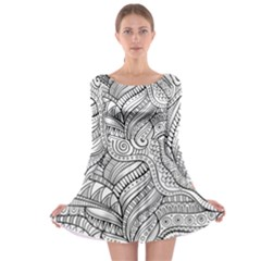 Zentangle Art Patterns Long Sleeve Skater Dress