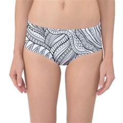Zentangle Art Patterns Mid Waist Bikini Bottoms