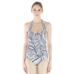 Zentangle Art Patterns Halter Swimsuit