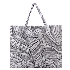 Zentangle Art Patterns Zipper Large Tote Bag