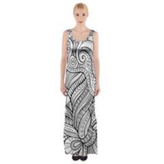 Zentangle Art Patterns Maxi Thigh Split Dress