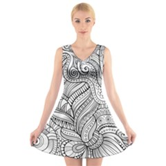 Zentangle Art Patterns V Neck Sleeveless Skater Dress