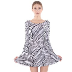 Zentangle Art Patterns Long Sleeve Velvet Skater Dress