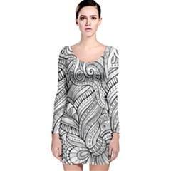 Zentangle Art Patterns Long Sleeve Velvet Bodycon Dress