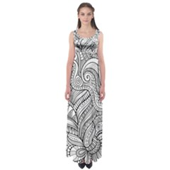 Zentangle Art Patterns Empire Waist Maxi Dress