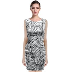 Zentangle Art Patterns Classic Sleeveless Midi Dress