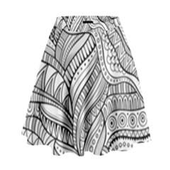 Zentangle Art Patterns High Waist Skirt