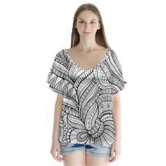 Zentangle Art Patterns Flutter Sleeve Top