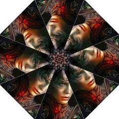 Digital Fantasy Girl Art Folding Umbrellas