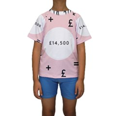 Added Less Equal With Pink White Kids  Short Sleeve Swimwear