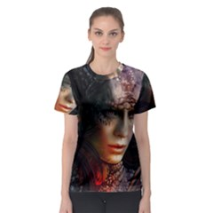 Digital Fantasy Girl Art Women s Sport Mesh Tee