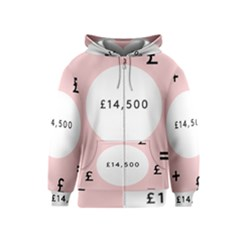 Added Less Equal With Pink White Kids  Zipper Hoodie