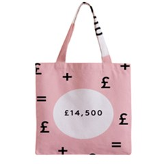 Added Less Equal With Pink White Zipper Grocery Tote Bag