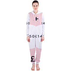 Added Less Equal With Pink White Hooded Jumpsuit (ladies)
