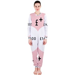 Added Less Equal With Pink White OnePiece Jumpsuit (Ladies)