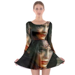 Digital Fantasy Girl Art Long Sleeve Skater Dress