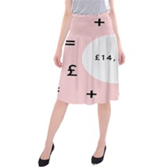 Added Less Equal With Pink White Midi Beach Skirt