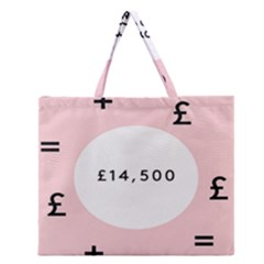 Added Less Equal With Pink White Zipper Large Tote Bag