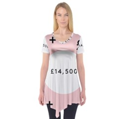 Added Less Equal With Pink White Short Sleeve Tunic