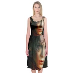 Digital Fantasy Girl Art Midi Sleeveless Dress