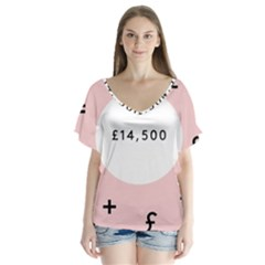 Added Less Equal With Pink White Flutter Sleeve Top