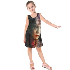 Digital Fantasy Girl Art Kids  Sleeveless Dress