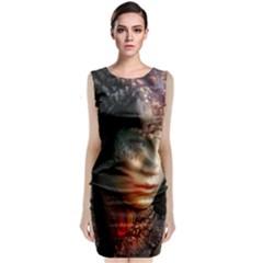 Digital Fantasy Girl Art Sleeveless Velvet Midi Dress