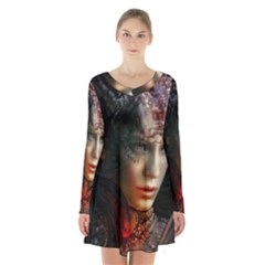 Digital Fantasy Girl Art Long Sleeve Velvet V Neck Dress