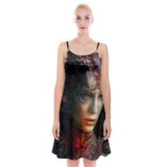 Digital Fantasy Girl Art Spaghetti Strap Velvet Dress