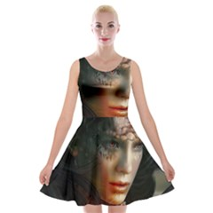Digital Fantasy Girl Art Velvet Skater Dress