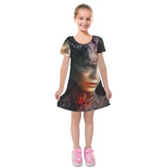 Digital Fantasy Girl Art Kids  Short Sleeve Velvet Dress