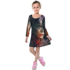 Digital Fantasy Girl Art Kids  Long Sleeve Velvet Dress