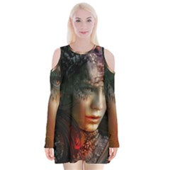 Digital Fantasy Girl Art Velvet Long Sleeve Shoulder Cutout Dress