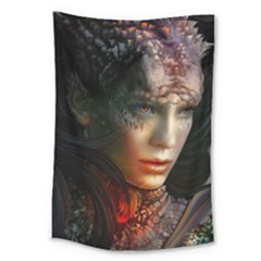 Digital Fantasy Girl Art Large Tapestry