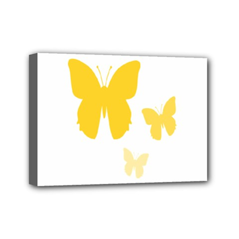 Yellow Butterfly Animals Fly Mini Canvas 7  X 5