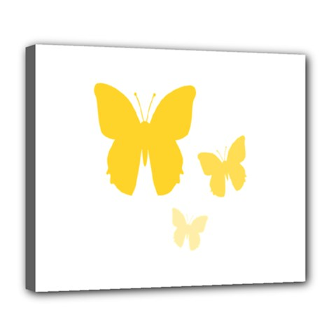 Yellow Butterfly Animals Fly Deluxe Canvas 24  x 20