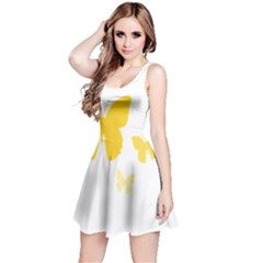 Yellow Butterfly Animals Fly Reversible Sleeveless Dress
