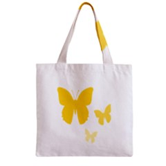 Yellow Butterfly Animals Fly Zipper Grocery Tote Bag