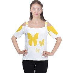 Yellow Butterfly Animals Fly Women s Cutout Shoulder Tee