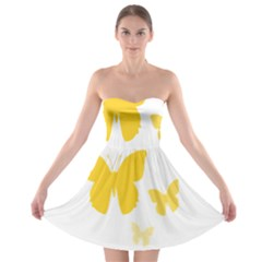 Yellow Butterfly Animals Fly Strapless Bra Top Dress