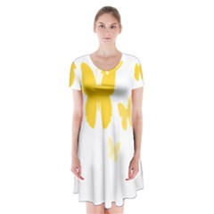 Yellow Butterfly Animals Fly Short Sleeve V-neck Flare Dress