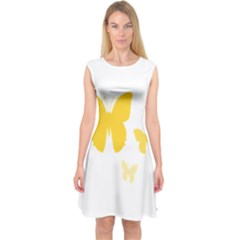 Yellow Butterfly Animals Fly Capsleeve Midi Dress